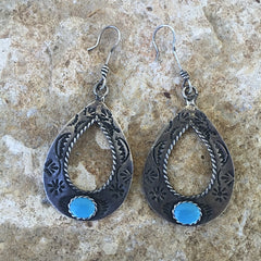 R. Turquoise Hoop Antique Earrings