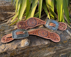 Leather Spur Straps with Custom Buckle