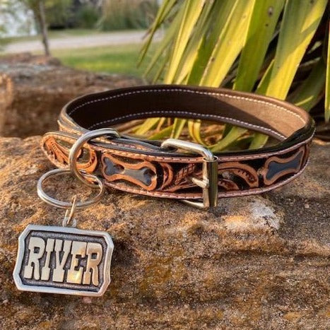 Leather Dog Collar with Custom Tag