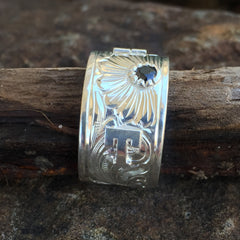 Custom Initial Men's Silver Ring