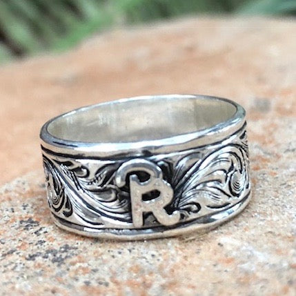 Custom Men's Silver Engraved Brand ring