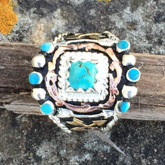 Aa. Indian Arrow Turquoise Bling Ring
