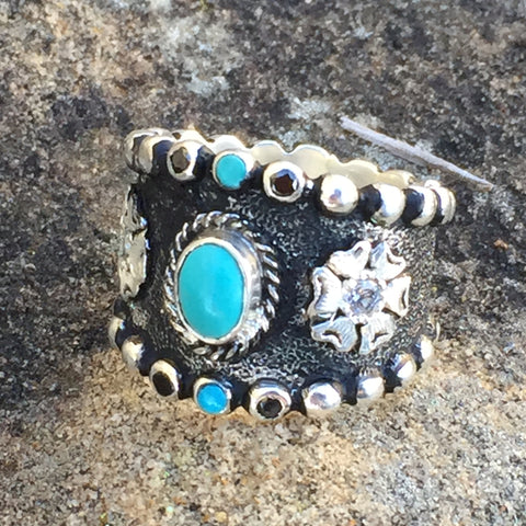 I. Antique Turquoise Flower Ring