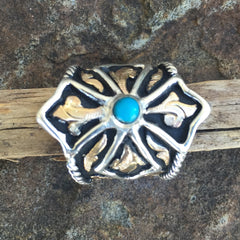 Ac. Turquoise Cross Initial Ring