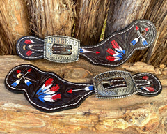 Leather Spur Straps with Custom Buckle 2.
