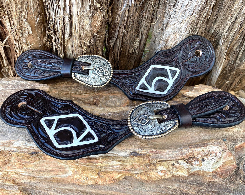 Leather Spur Straps with Custom Buckle 3.