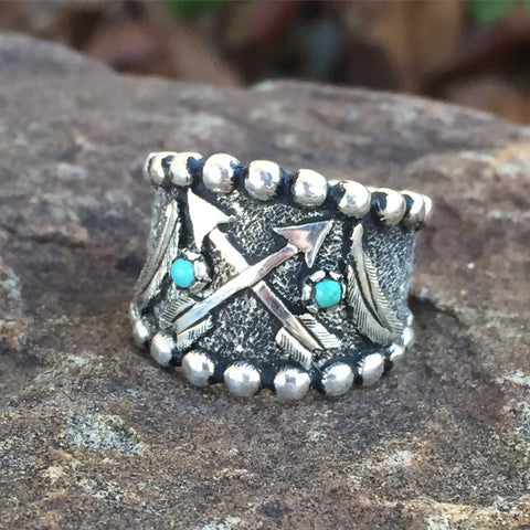 R. Antique arrow feather ring