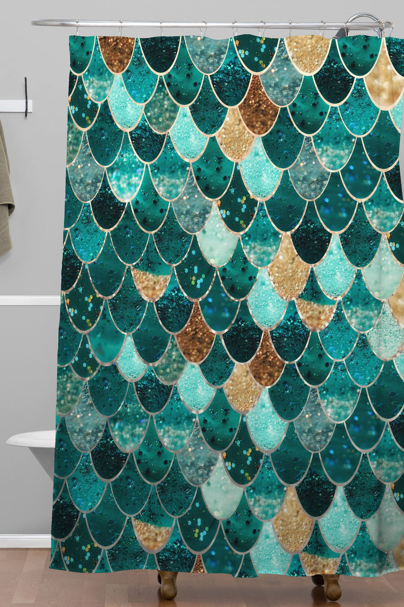 Shower Curtains Furnister - Brown and turquoise shower curtain