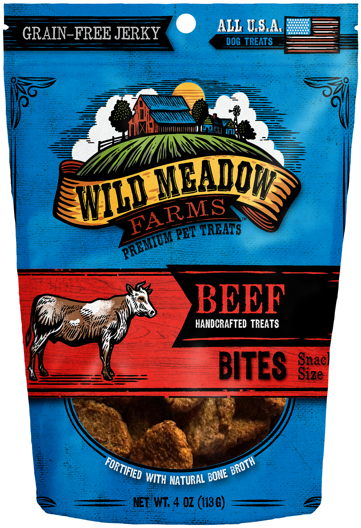 Beef Bites - USA Made Soft Jerky Dog Treats 4oz by Wild Meadow Farms
