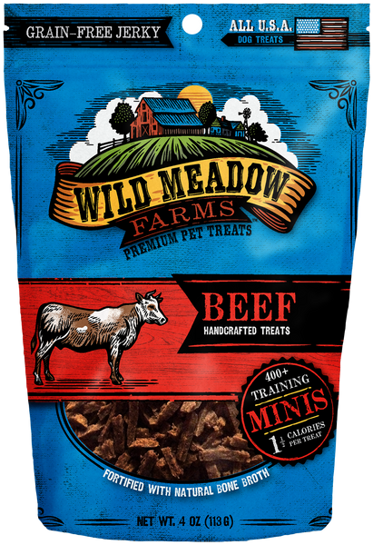 Beef Minis - USA Made Training Size Dog Treats 4oz by Wild Meadow Farms