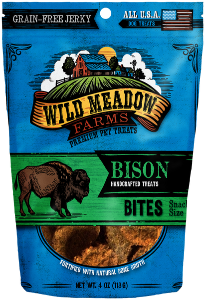 Bison Bites - USA Made Soft Jerky Dog Treats 4oz by Wild Meadow Farms