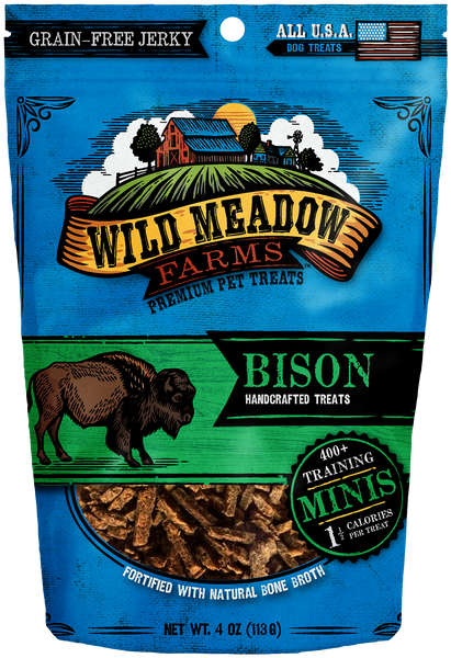 Bison Minis - USA Made Training Size Dog Treats 4oz by Wild Meadow Farms