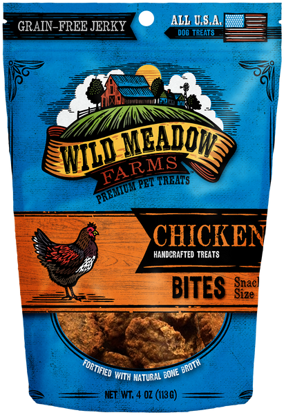 Chicken Bites - USA Made Soft Jerky Dog Treats 4oz by Wild Meadow Farms