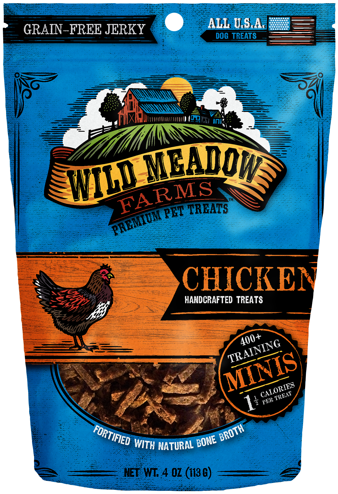 Chicken Minis - USA Made Training Size Dog Treats 4oz by Wild Meadow Farms