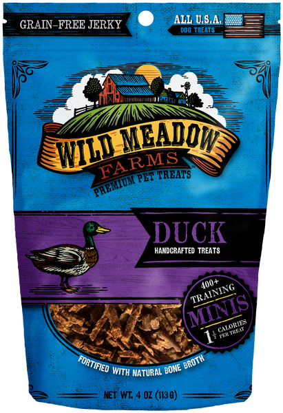 Duck Minis - USA Made Training Size Dog Treats 4oz by Wild Meadow Farms