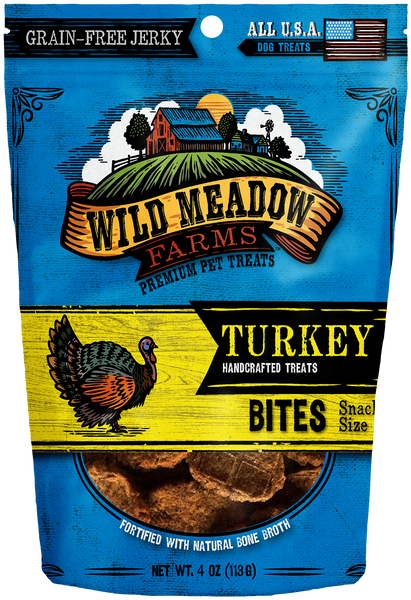 Turkey Bites - USA Made Soft Jerky Dog Treats 4oz by Wild Meadow Farms