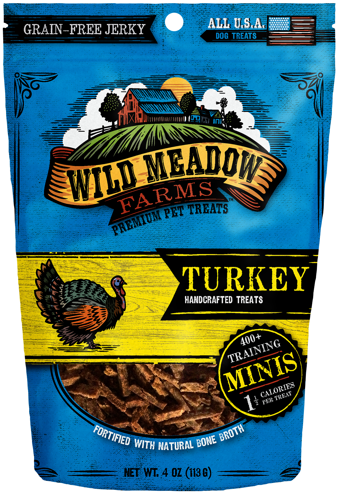 Turkey Minis   USA Made Training Size Dog Treats 4oz by Wild Meadow Farms. Turkey Minis Dog Treats   Wild Meadow Farms