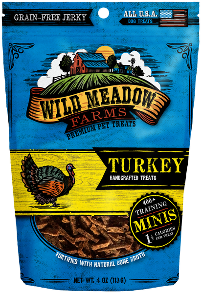Turkey Minis - USA Made Training Size Dog Treats 4oz by Wild Meadow Farms