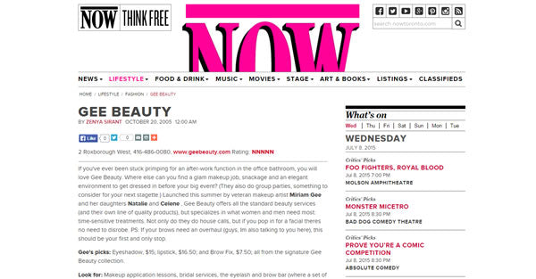 Gee Beauty featured in Now