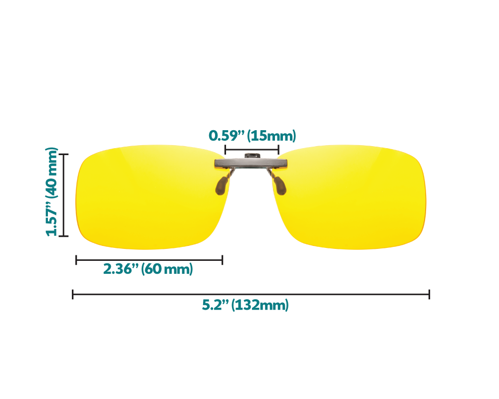 Elite blue light blocking clip-on glasses dimensions
