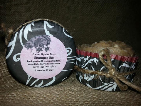 Lavender Orange Shampoo Bar with goat milk