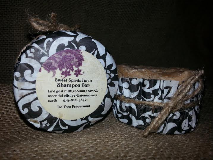 Tea Tree & Peppermint Shampoo Bar with goat milk