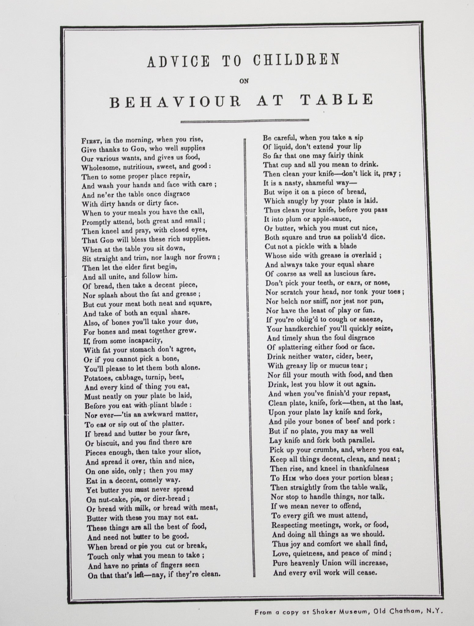 """Advice for Children"" Broadside"