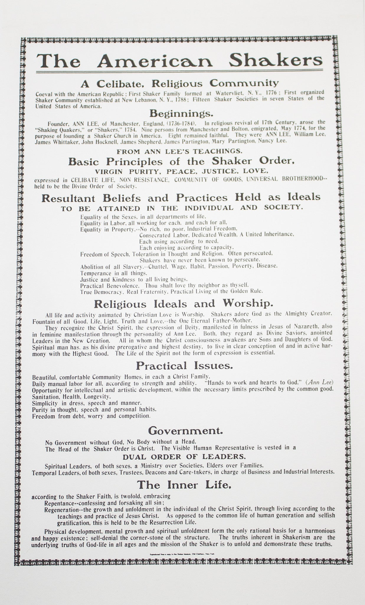"""The American Shakers"" Broadside"