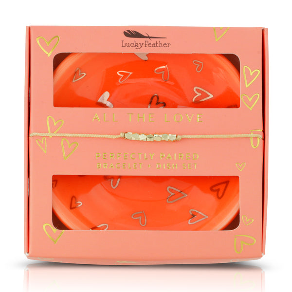 Bracelet + Dish Set - LOVE - Rnd dish/Card Box - 1 pc