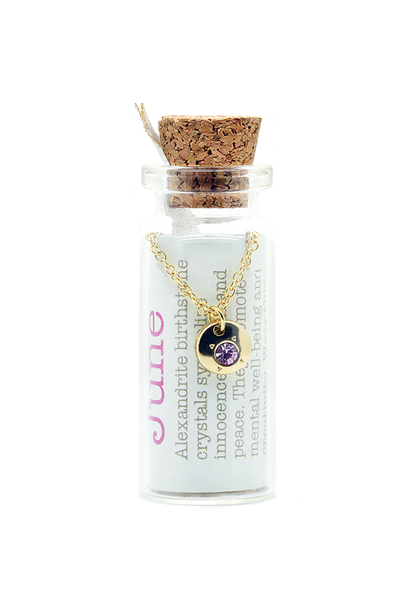 June Birthstone Bottle Necklace