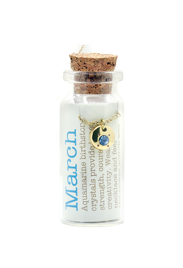 March Birthstone Bottle Necklace