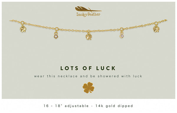 Gold Dangle Necklace - LOTS OF LUCK