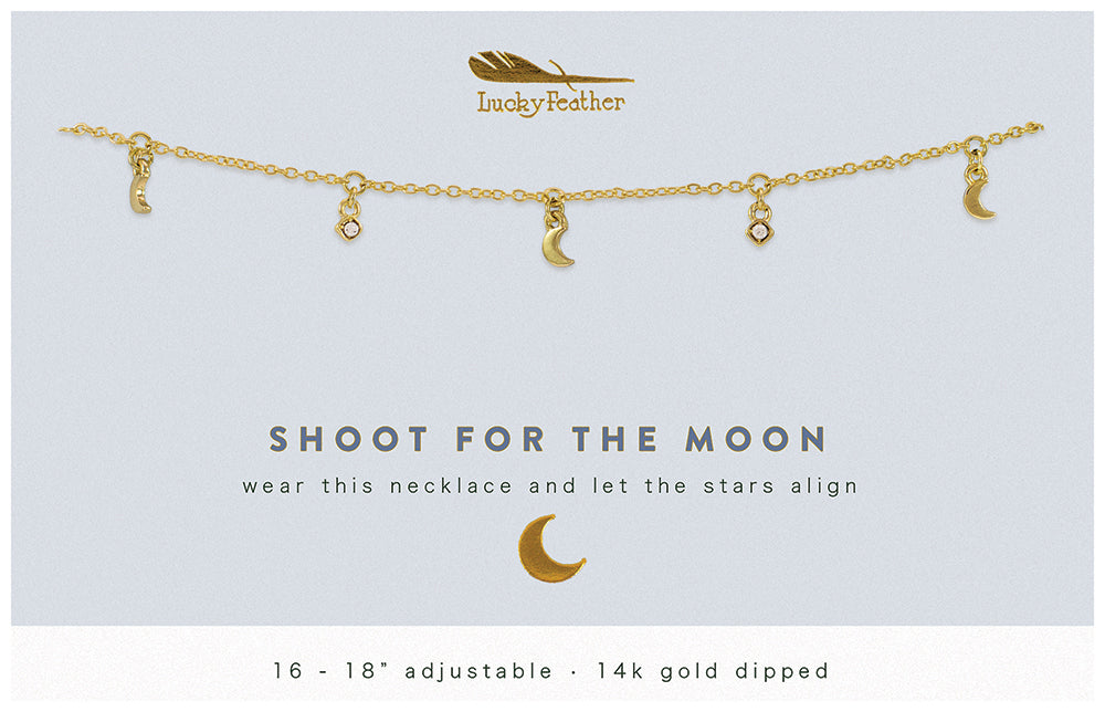 Gold Dangle Necklace - SHOOT FOR THE MOON