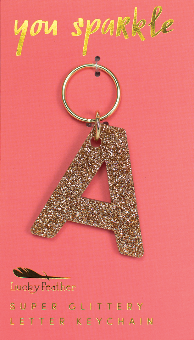 Glitter Letter Keychain - A