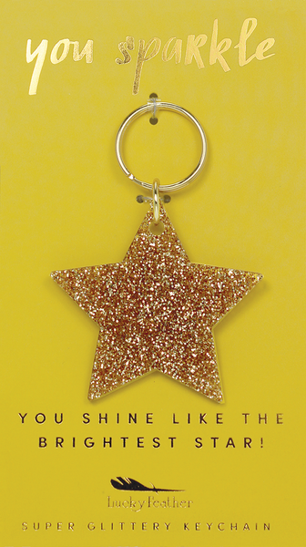 Gold Glitter Key - Shape - STAR