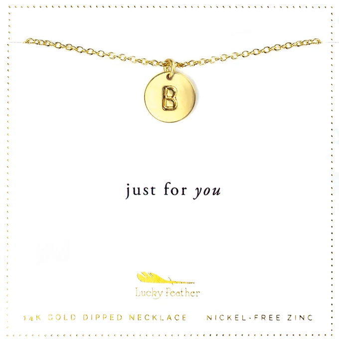 Letter Disc Necklace - Gold - B