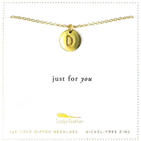 Letter Disc Necklace - Gold - D
