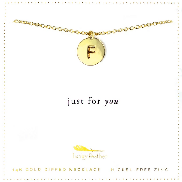 Letter Disc Necklace - Gold - F