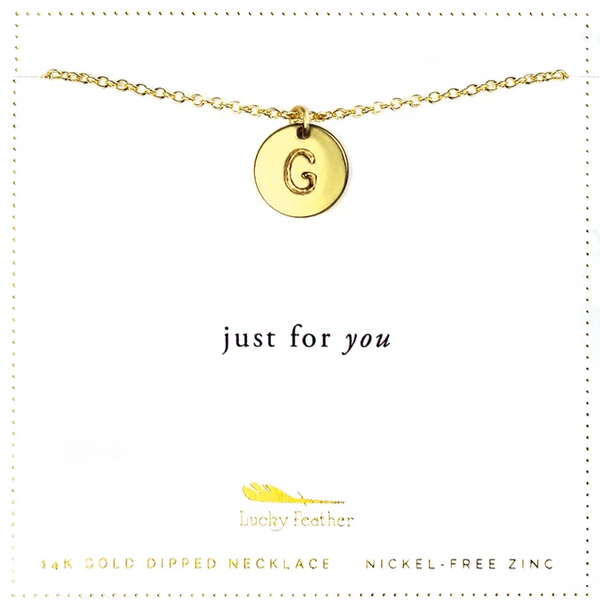 Letter Disc Necklace - Gold - G