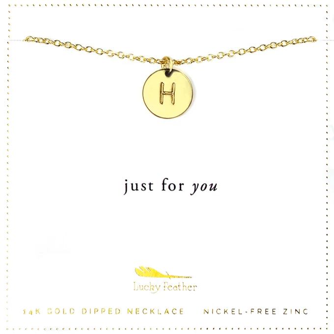 Letter Disc Necklace - Gold - H