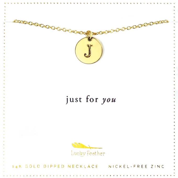 Letter Disc Necklace - Gold - J