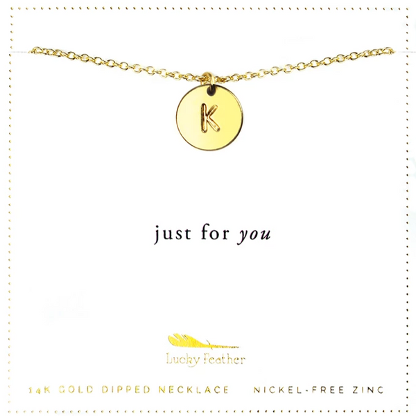 Letter Disc Necklace - Gold - K