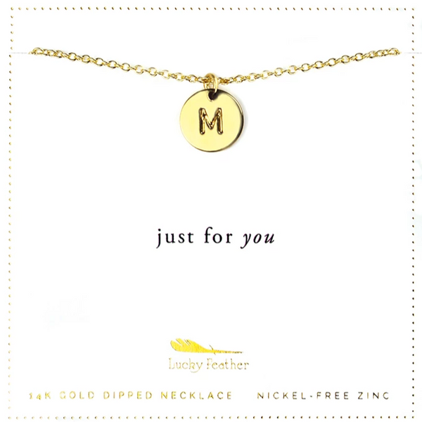 Letter Disc Necklace - Gold - M