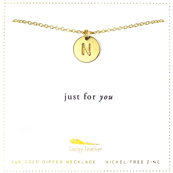 Letter Disc Necklace - Gold - N