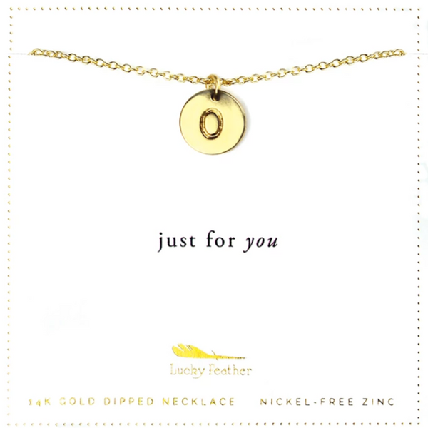 Letter Disc Necklace - Gold - O