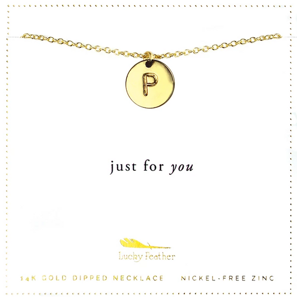 Letter Disc Necklace - Gold - P