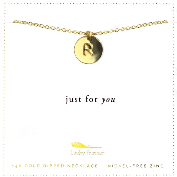 Letter Disc Necklace - Gold - R