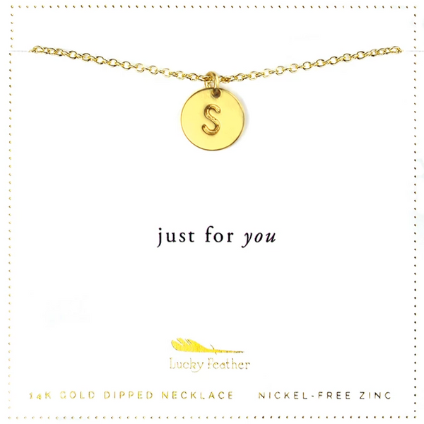 Letter Disc Necklace - Gold - S