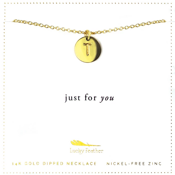 Letter Disc Necklace - Gold - T