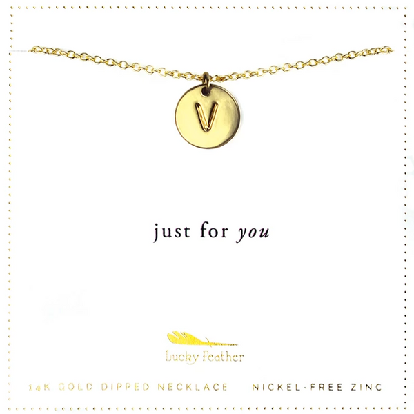 Letter Disc Necklace - Gold - V